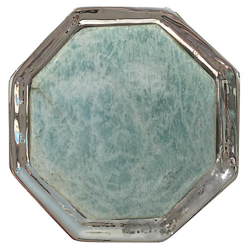Harrison Small Pull, Nickel/Amazonite