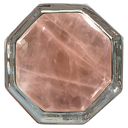 Harrison Small Pull, Nickel/Rose Quartz