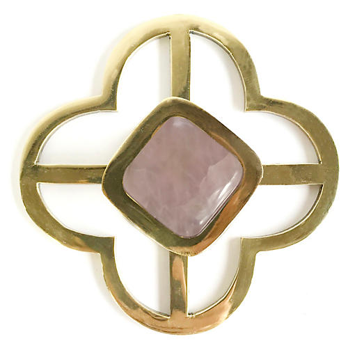 Benson Jones Backplate Pull, Brass/Rose Quartz