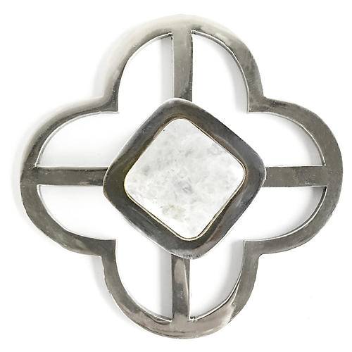 Benson Jones Backplate Pull, Nickel/Moonstone