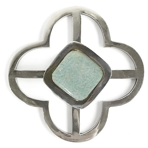 Benson Jones Backplate Pull, Nickel/Amazonite