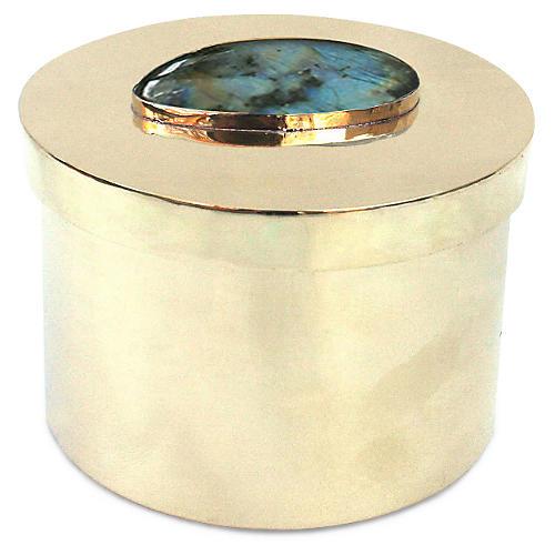 "4"" Avery Box, Brass/Blue"