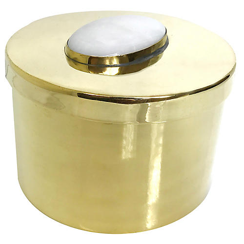 "4"" Avery Box, Moonstone/Brass"