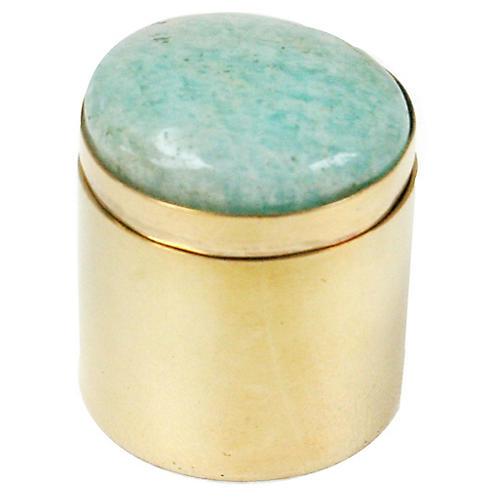 """2"""" Ring Box, Brass/Aqua"""