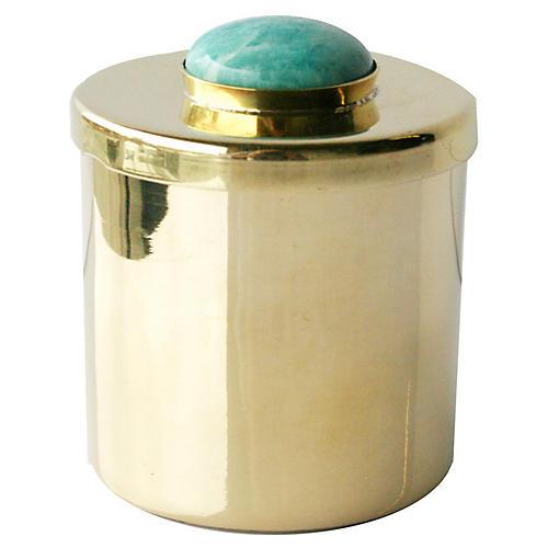 "2"" Lane Round Box, Brass/Aqua"
