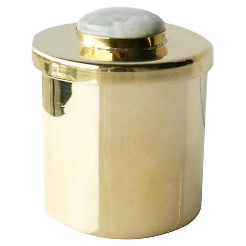 "2"" Lane Round Box, Brass/Light Gray"
