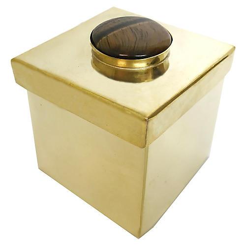 "2"" Lane Square Box, Brown/Brass"