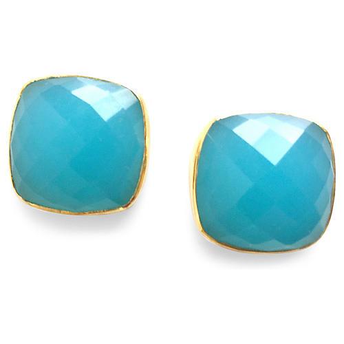 Hutchinson Stud Earrings, Aqua