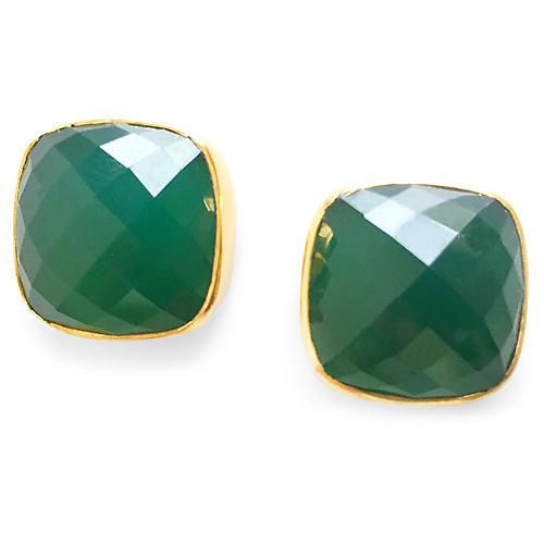 Hutchinson Stud Earrings, Emerald