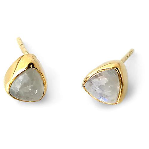 Ivy Stud Earrings, Moonstone