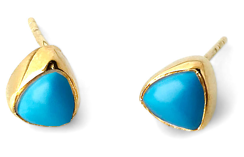 Ivy Stud Earrings, Blue Turquoise