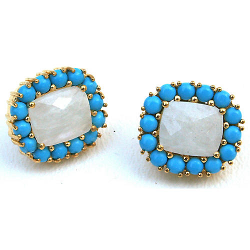 24-Kt Reames Stud Earrings, Moonstone/Turquoise