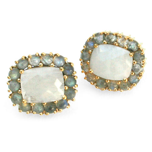 24-Kt Reames Stud Earrings, Moonstone/Labradorite