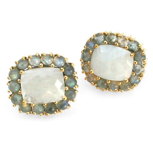 24-Kt Reames Stud Earrings, Moonstone/Labradorite