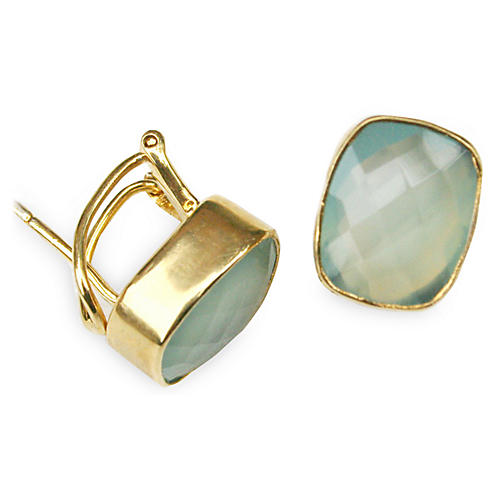 Whitten Stud Earrings, Aqua/Gold