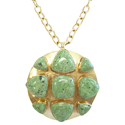 24-Kt Bendall Necklace, Green Turquoise