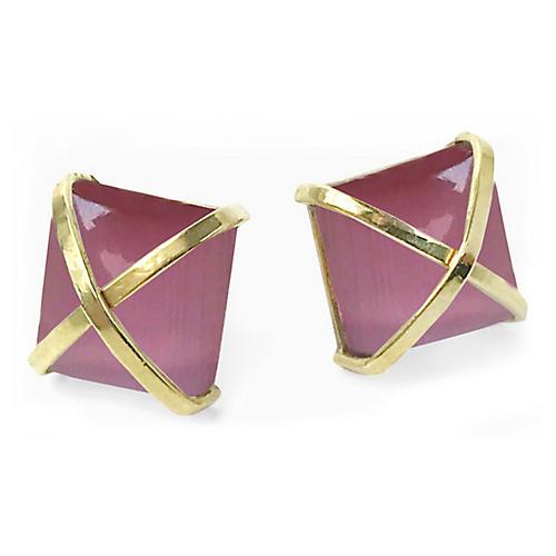 24-Kt Martin Stud Earrings, Pink Opal/Gold