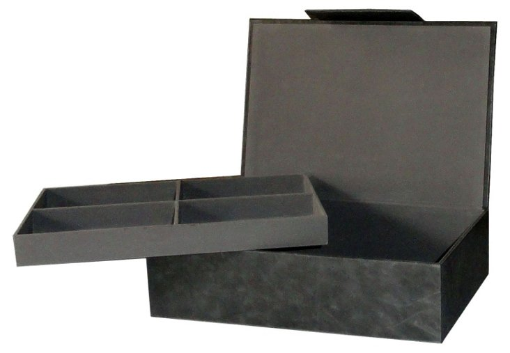 Leather Collector's Box, Gray