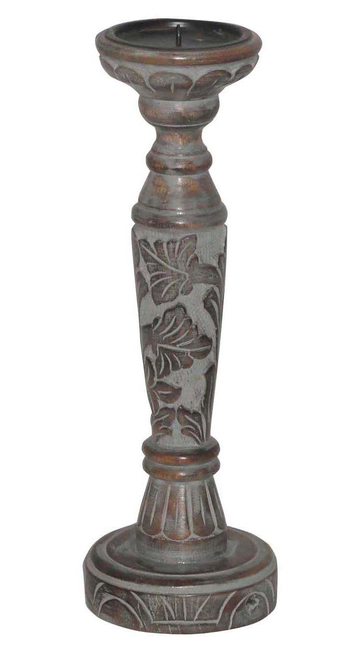 """12"""" Carved Wood Candleholder"""