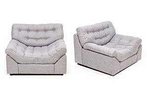 Gray Lounge Chairs,   Pair