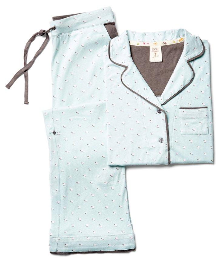 XXL Sheep Short Knit Pajama Set, Blue