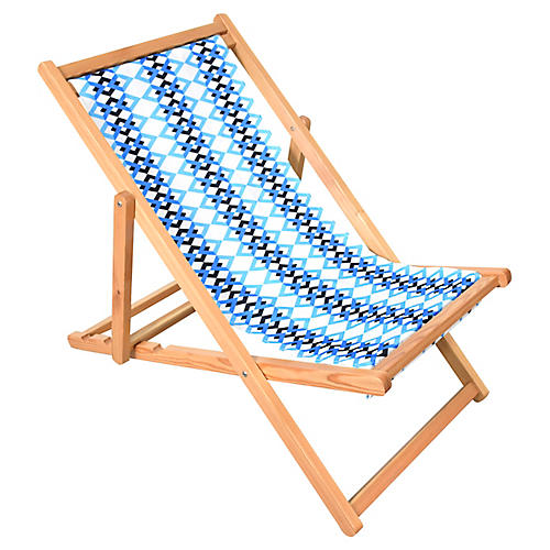 Chevron Beach Chair, Blue/White