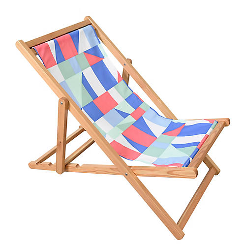 Abstract Beach Chair, Pink/Multi
