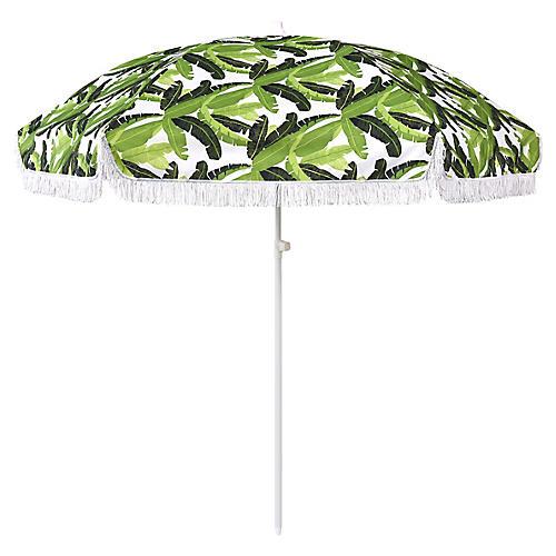 Jungle Beach Umbrella, Green/White