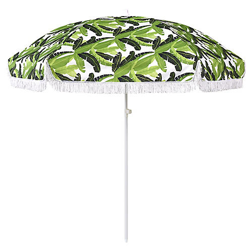 Jungle Beach Umbrella, Green/White