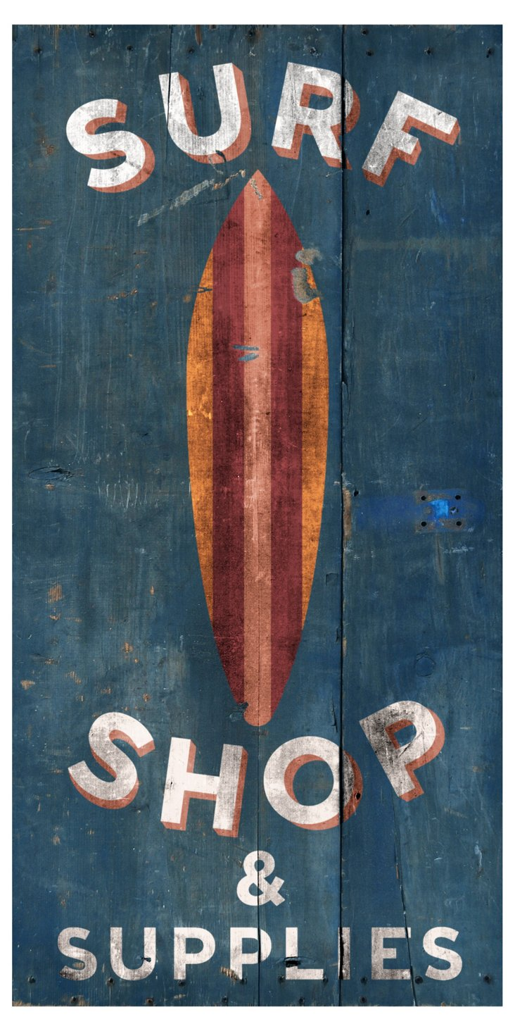 """Surf Shop & Supplies"" Sign, Blue"
