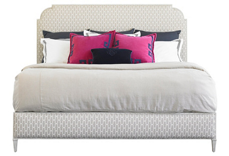 White Peninsula Upholstered Bed