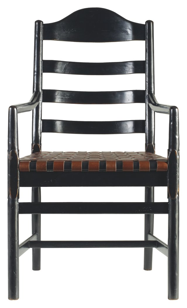 Ama Ladderback Leather Armchair, Ebony