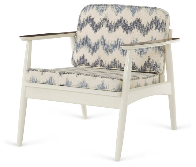 Vintage Petite Lounge Chair, White/Blue
