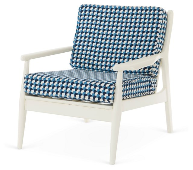 Spindle-Back Lounge Chair, White/Blue