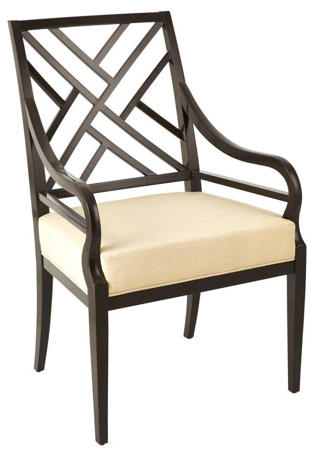 Fret-Back Armchair, Cream