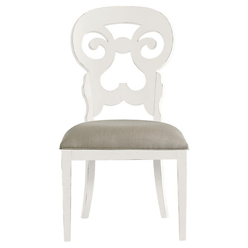 Wayfarer Side Chair, White/Taupe