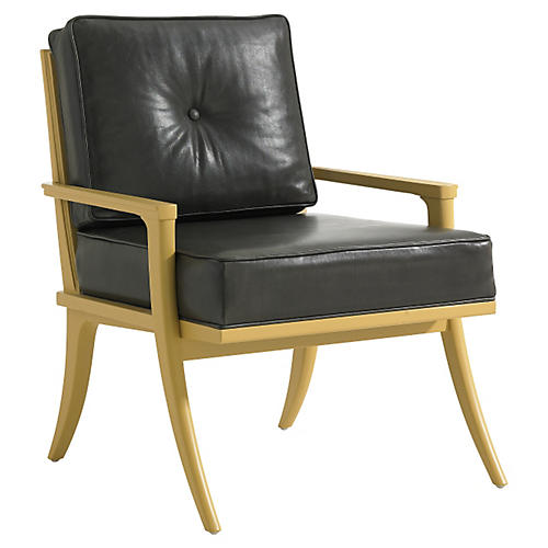 Lia Accent Chair, Black Leather