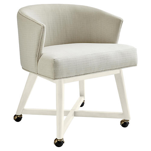 Carlyle Accent Chair, Gray/White