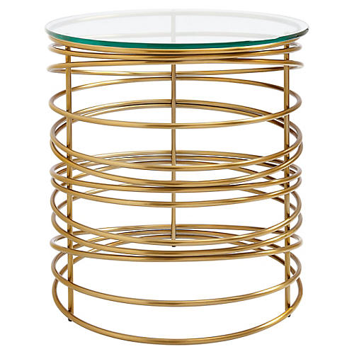 "Zuma 26"" Round Side Table, Gold"