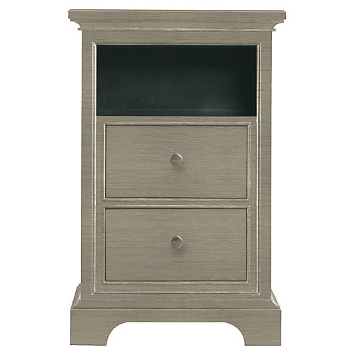 Transitional Nightstand, Gray