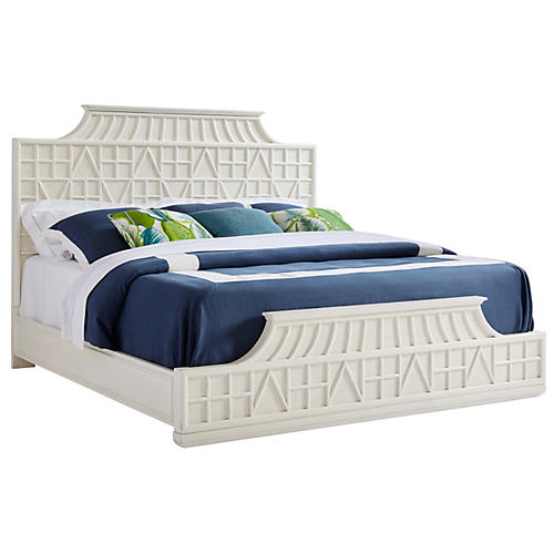 Amistad Fretwork Panel Bed, White