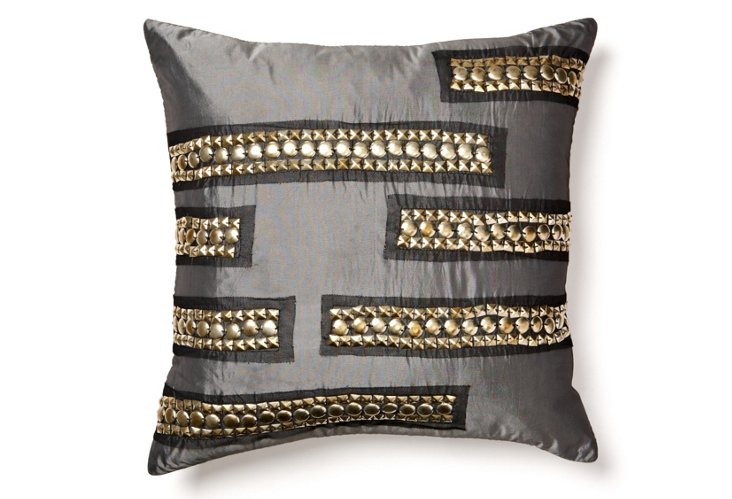 Studded 18x18 Pillow, Gray