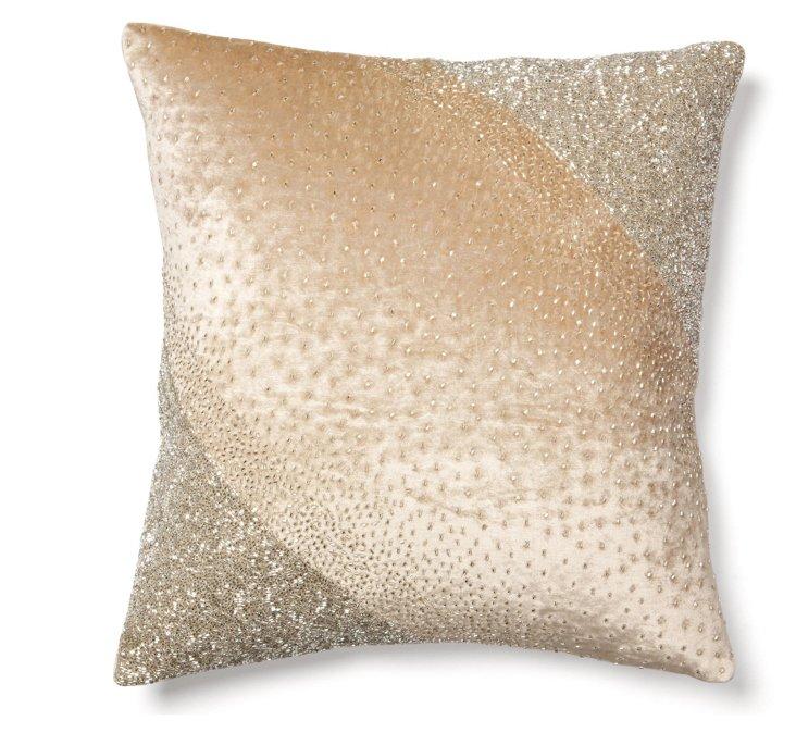 Diagonal 18x18 Velvet Pillow, Beige