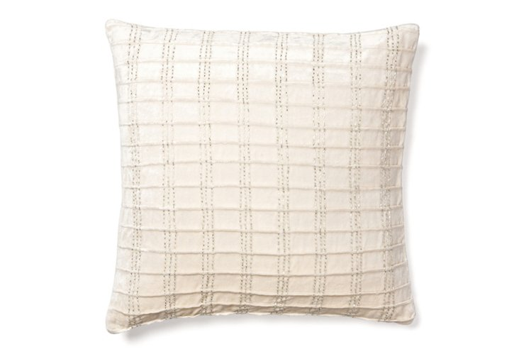 Corded 18x18 Velvet Pillow, Ivory