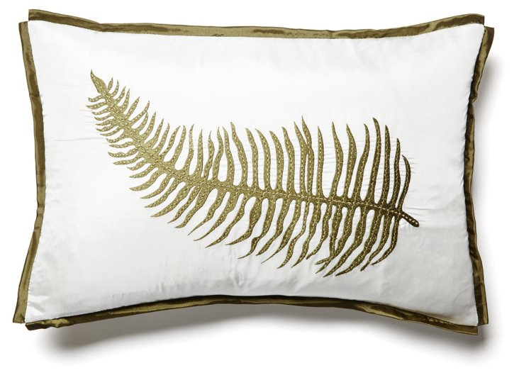 Fern 3 14x20 Embroidered Pillow, Ivory