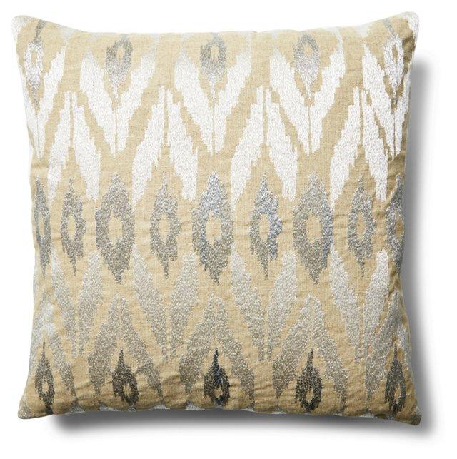 Mica 20x20 Linen-Blend Pillow, Silver