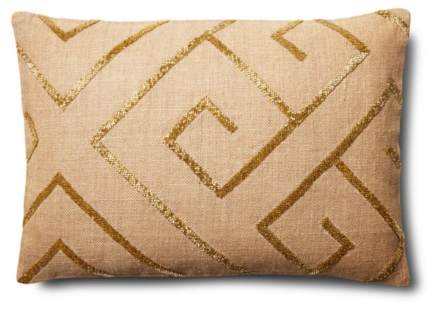 Arima 14x20 Jute Pillow, Gold