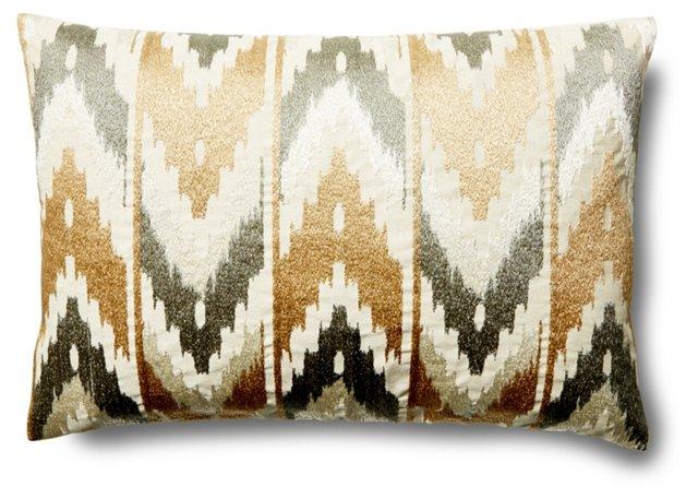 Nessa 14x20 Linen-Blend Pillow, Natural