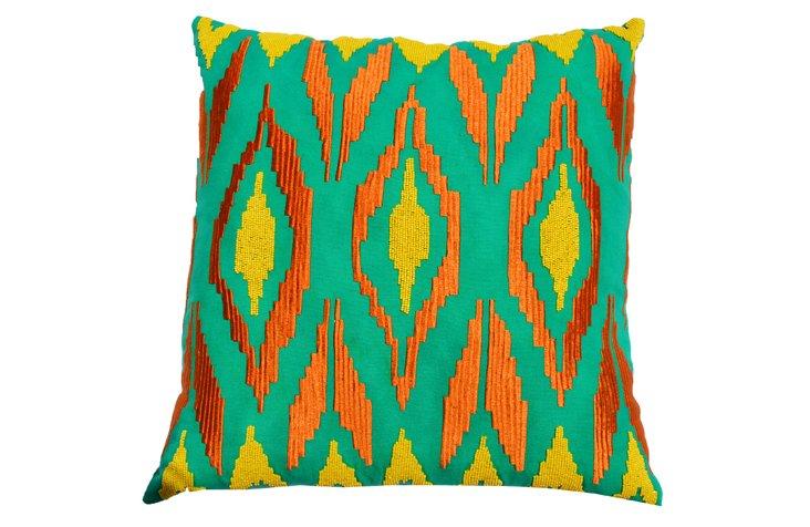 Wulst 20x20 Cotton Pillow, Green