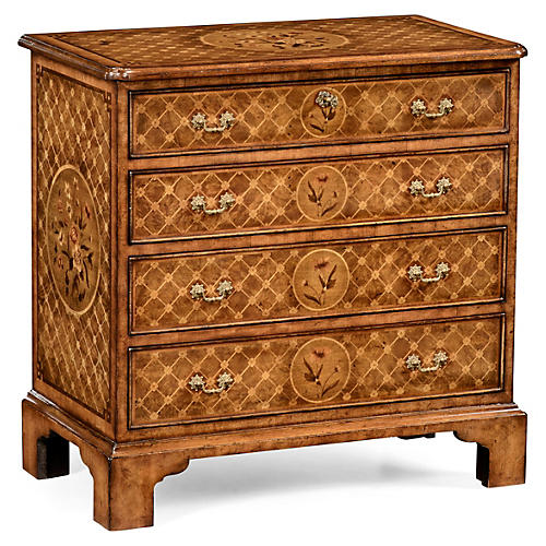 Floral Marquetry Chest, Caramel/Honey